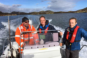 Alasdair Allan with Robin Reid of the RSPB and Lewis from Hebrides Fish n' Trips